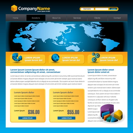 site: Business vector web site design template with a pie chart
