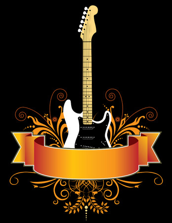 Guitar grunge banner in vector format Stock Illustratie