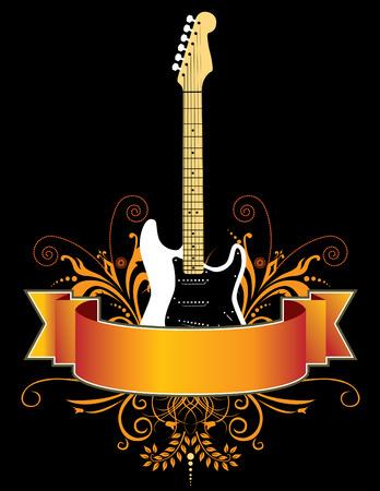acoustics: Guitar grunge banner in vector format Illustration