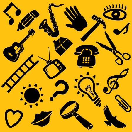 natation: Una colección de 22 objetos funky vector