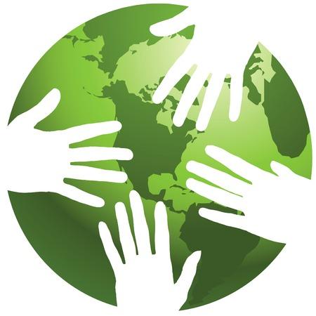 Een wereld met de handen eromheen, in vector-formaat Vector Illustratie