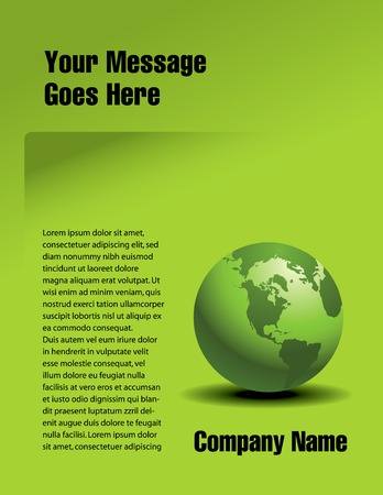 Vector page design with a global green theme Stock Illustratie