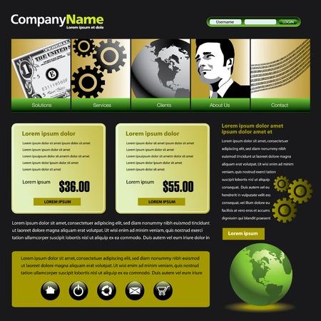 ドル、歯車、グローブ & 男とベクター web サイトのデザイン テンプレート  イラスト・ベクター素材