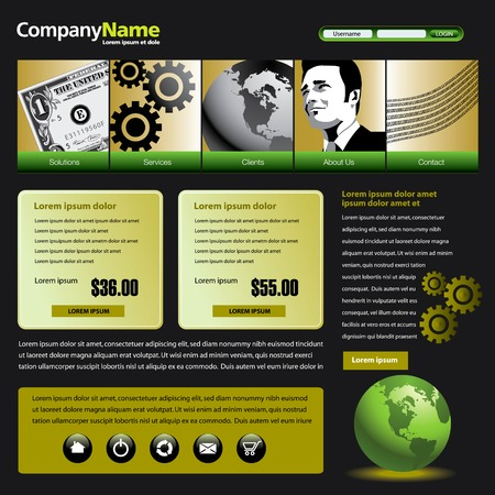 web template: Vector web site design template with dollar, gears, globe & man
