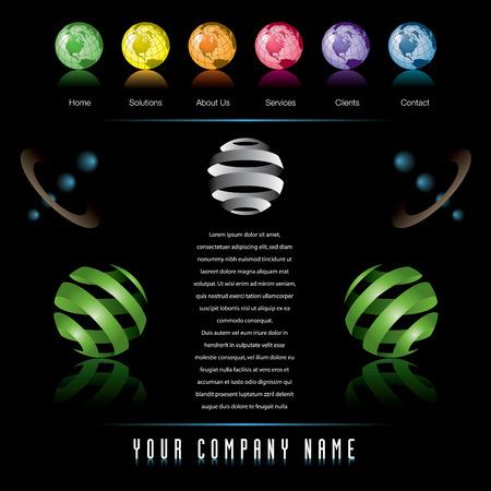 Een classy vector web site ontwerp sjabloon met globes