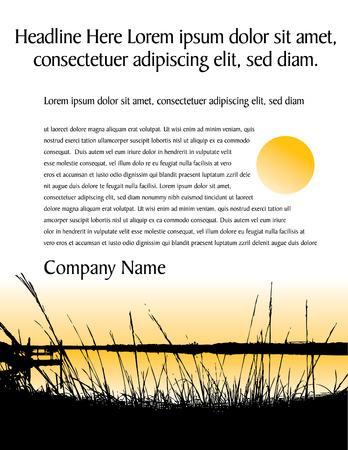 既製、夏をテーマにした 2 色ベクトル ページ デザイン。