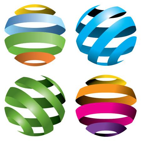 Een set van vier abstract vector globes