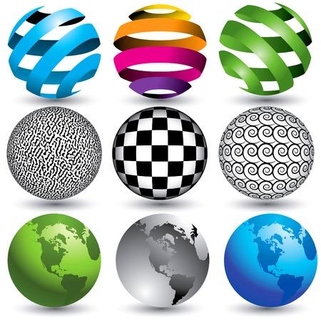 9 globes in editable vector format Stock Illustratie