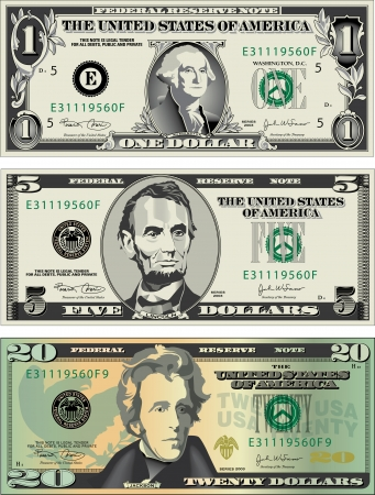 five dollars: Three detailed, Stylized drawings of American Bills