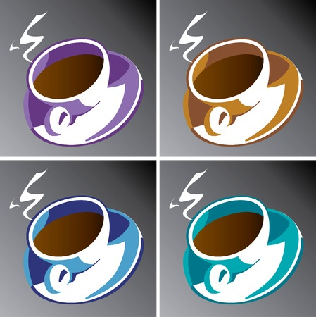 caf: Four coffee cups in editable vector format Illustration