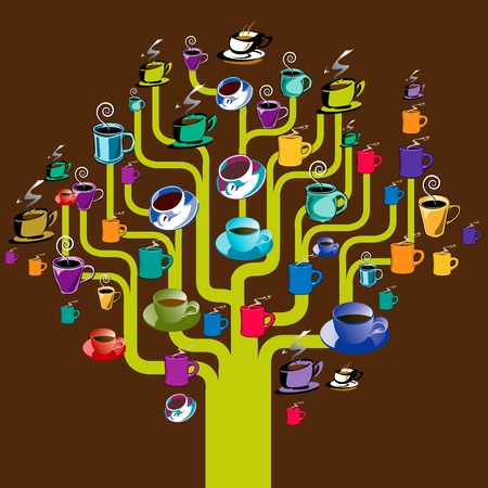 A coffee tree made with a variety of assorted coffee cups