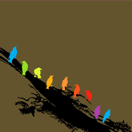 An arrangement of birds on a branch in rainbow colors Vector