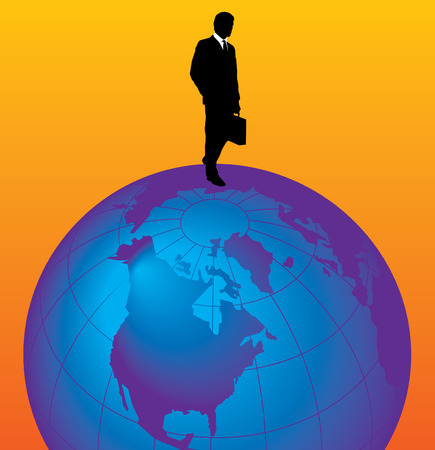 An illustration of a businessman, walking on top of a globe on an orange background.