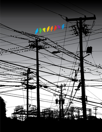 Een regenboog van vogels op een draad Stock Illustratie