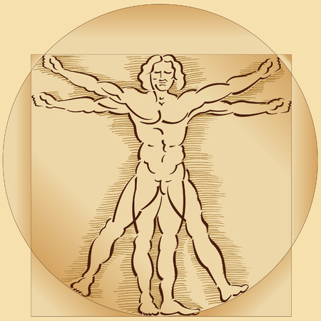 A highly stylized drawing of vitruvian man with crosshatching and sepia tones
