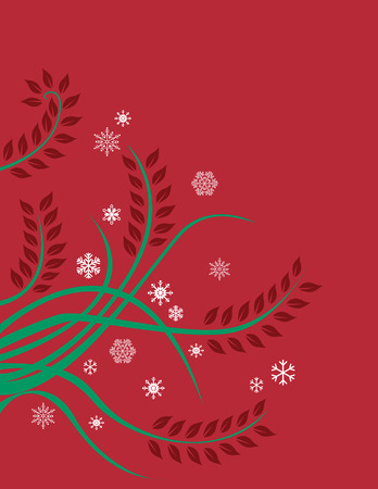 A red and green Christmas, floral design with snow flakes Vector