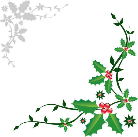 Christmas decoration with holly and floral background Ilustracja