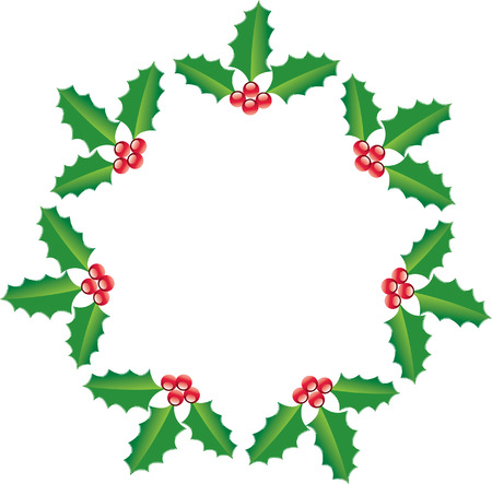 A circle of holly forming a star Vector