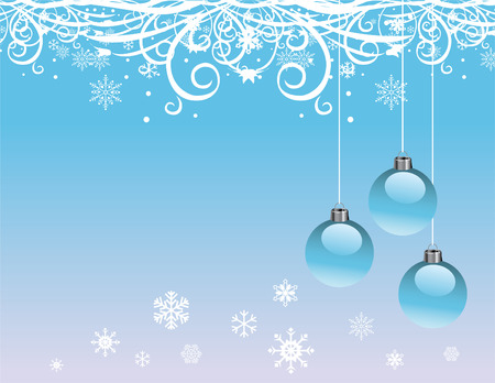 A Christmas, winter design with snowflakes and ornaments Vector