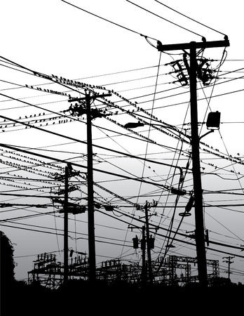 electric meter: A complex maze of telephone poles and wires