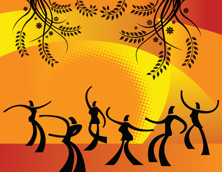 silhouetted: Illustration of silhouetted people dancing outdoor in the sun