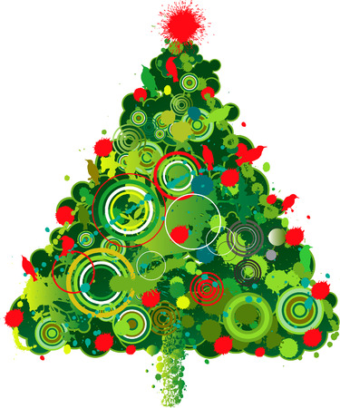 A lively and colorful grunge Christmas tree