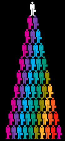 A colorful pyramid created by rows of small rainbow colored icons of businessmen carrying briefcases with the top figure in white.