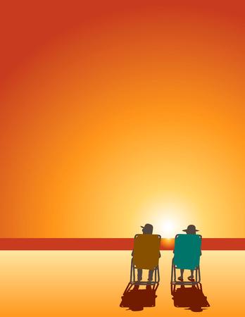 prendre sa retraite: Un homme et une femme se d�tendre dans des chaises de plage de l'oc�an d'eau avec de l'espace pour le texte