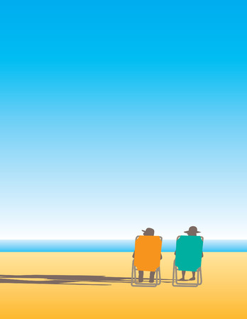 A man and woman relax in beach chairs by the ocean water with space for text