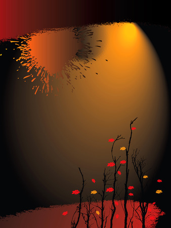 gloom: An illustrated background with a fallautumn halloween theme Illustration