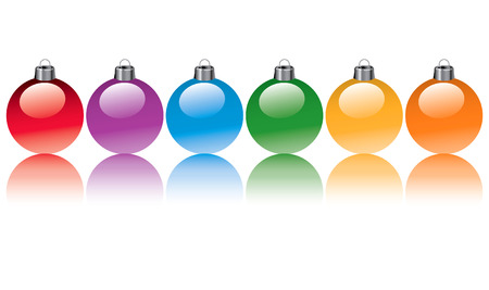 Six colorful Christmas ornaments in the colors of the rainbow