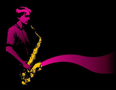 Een alleenstaande saxofonist met gouden sax Stock Illustratie