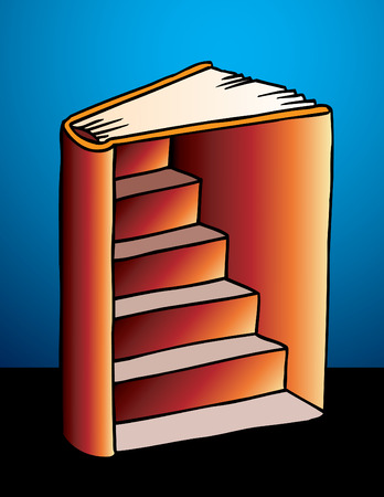 Book with Staircase beckons viewer to a higher level