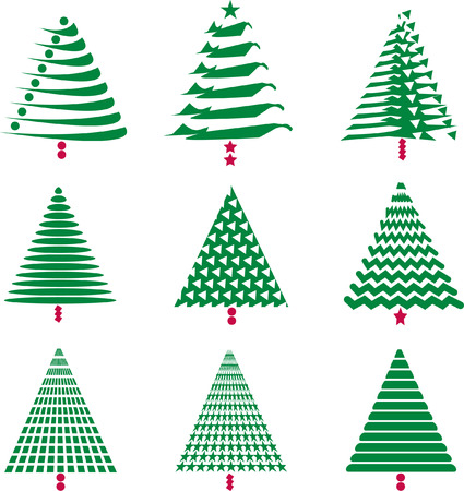 Nine interesting, abstract Christmas trees