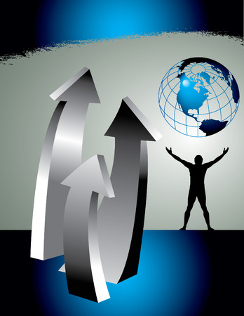 An abstract background landscape with man, earth and upward arrows Vector