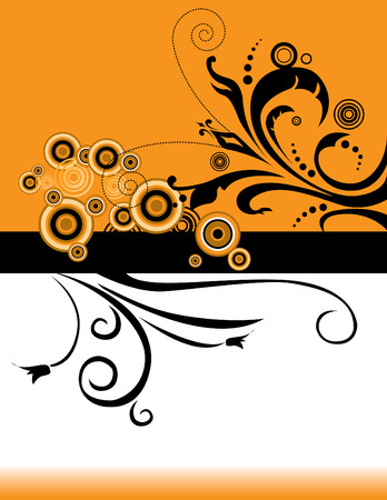 An interesting floral grunge background in orange and black Vector