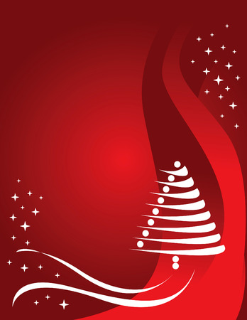 An abstract wavy Christmas background with a Christmas tree and stars Vector