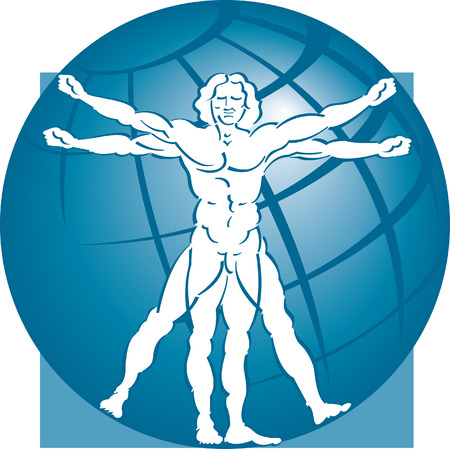 A stylized drawing of vitruvian man with a globe in the background