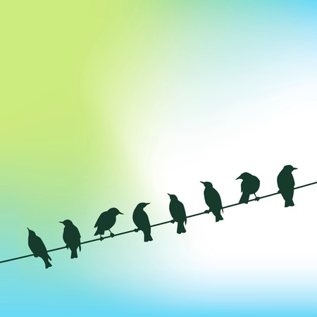 A row of birds on a wire against a sky background in vector format
