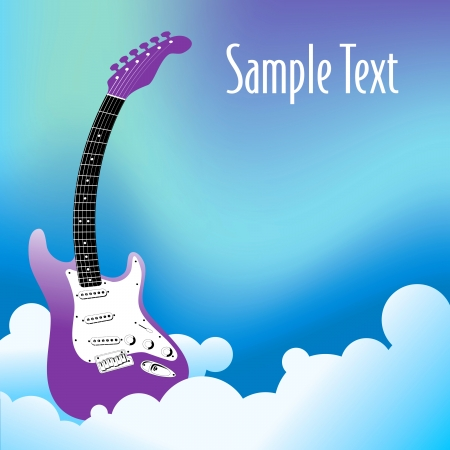 A vector background with an electric guitar in the clouds