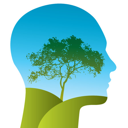Vector Man with a tree landscape within his silhouette Illustration