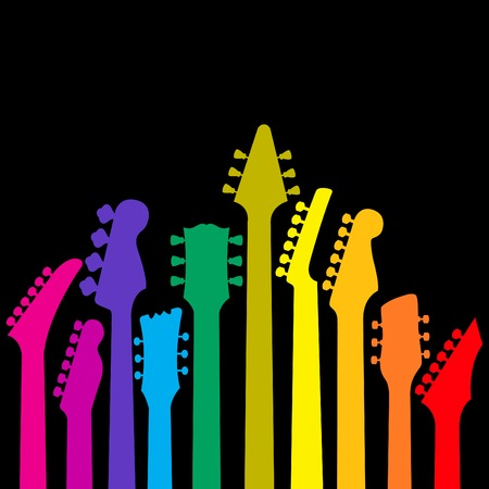 rainbow background: A vector background with a rainbow of Guitar headstocks