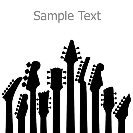 accords: A music, vector background with Guitar headstocks
