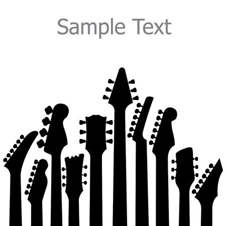 Een muziek, vector achtergrond met gitaar headstocks Stock Illustratie
