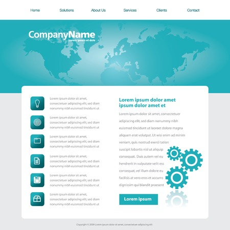 Vector web site design template with a world map and gears