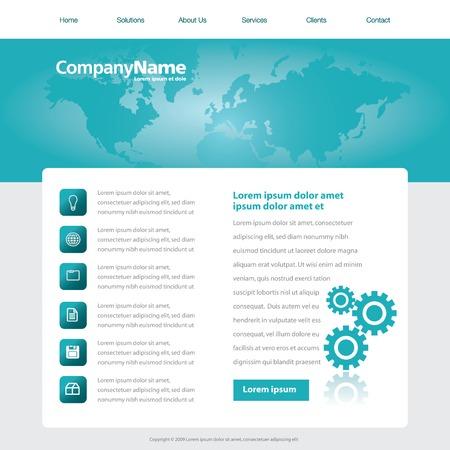 Vector web site ontwerp sjabloon met een wereldkaart en tandwielen
