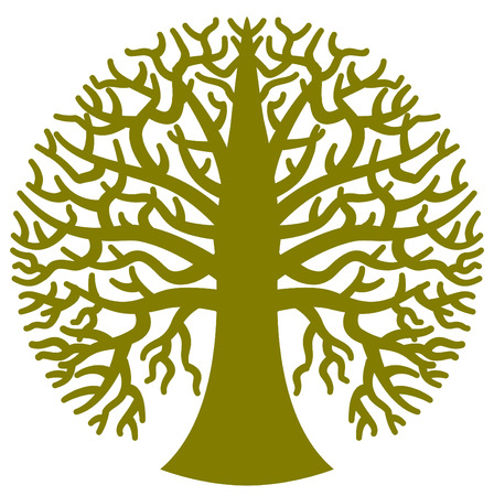 A stylized round tree in vector format Stock Illustratie