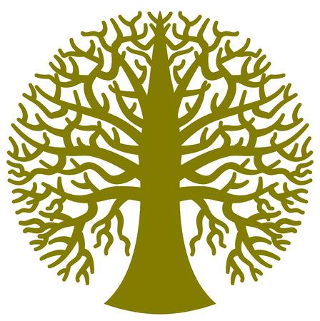 Een ronde gestileerde boom in vector formaat