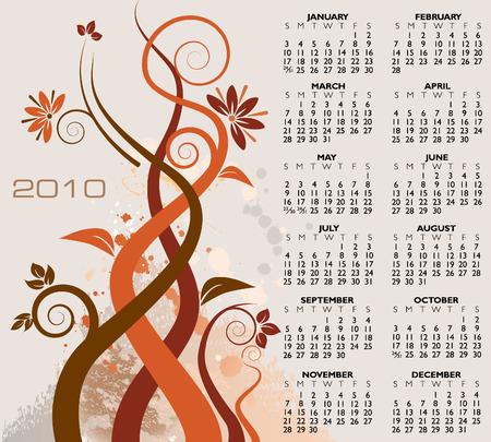 2010 floral calendar. Stock Vector - 5416772