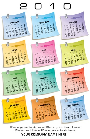 scheduler: Colorful Calendar for 2010 of sticky notes. With Space for text Illustration